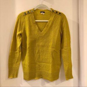 J.CREW Wynter V-neck Sweater (Yellow Green)